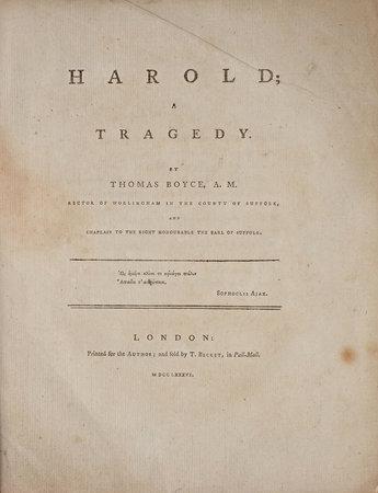 Harold; a Tragedy. by BOYCE, Thomas.