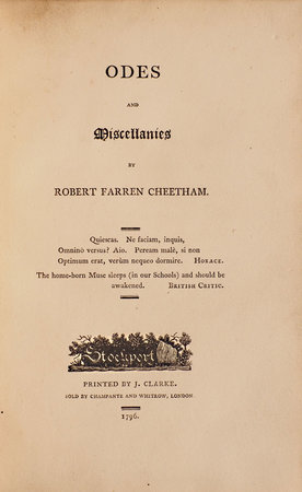 Odes and Miscellanies. by CHEETHAM, Robert Farren.