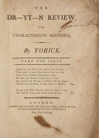The Dr-yt-n Review, or, Characteristic Sketches. By Yorick. Part the First. by 'YORICK', pseudonym.