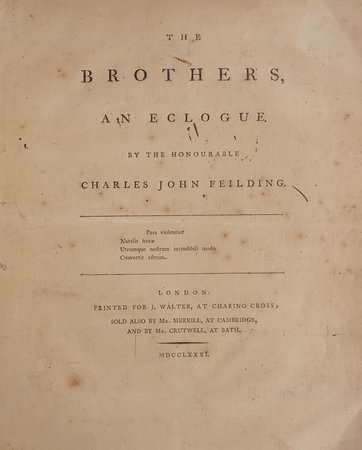 The Brothers, an Eclogue. by FEILDING, Charles John.