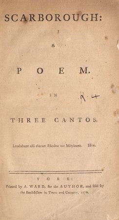 Scarborough: a Poem. In three Cantos. by [FOSTER, Mark].