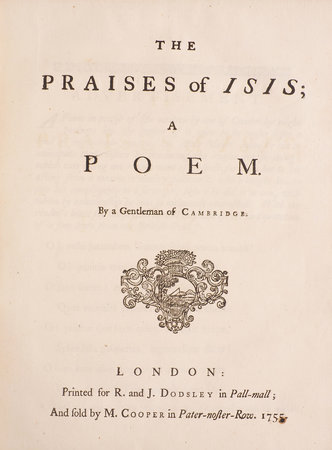 The Praises of Isis; a Poem. By a Gentleman of Cambridge. by (GENTLEMAN OF CAMBRIDGE).