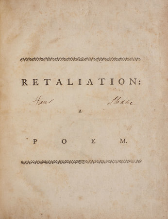 Retaliation: a Poem. By Doctor Goldsmith. Including Epitaphs on the most distinguished Wits of the Metropolis. by GOLDSMITH, [Oliver].