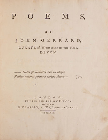 Poems, by John Gerrard, Curate of Withycombe in the Moor, Devon. by GERRARD, John.