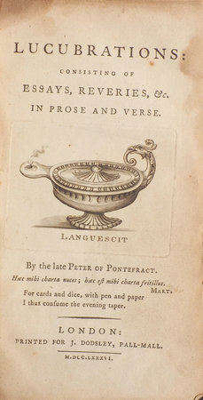 Lucubrations: consisting of Essays, Reveries, &c. in Prose and Verse. By the late Peter of Pontefract. by [GRAVES, Richard].
