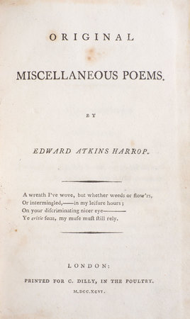 Original Miscellaneous Poems. by HARROP, Edward Atkins.