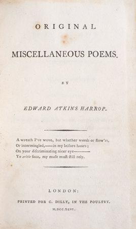 Original Miscellaneous Poems. by HARROP, Edward Atkins.