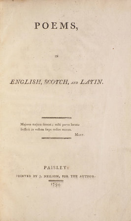 Poems in English, Scotch, and Latin. by [GRAHAME, James].