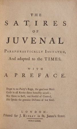 The Satires of Juvenal paraphrastically imitated, and adapted to the Times... the second Edition with Additions. by [GREENE, Edward Burnaby].