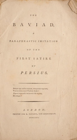 The Baviad, a paraphrastic Imitation of the first Satire of Persius. by [GIFFORD, William].
