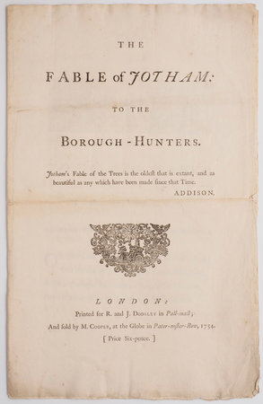 The Fable of Jotham: to the Borough-Hunters... by [CAMBRIDGE, Richard Owen].