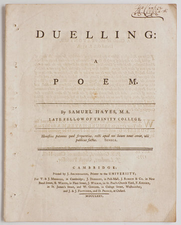Duelling: a Poem... by HAYES, Samuel.