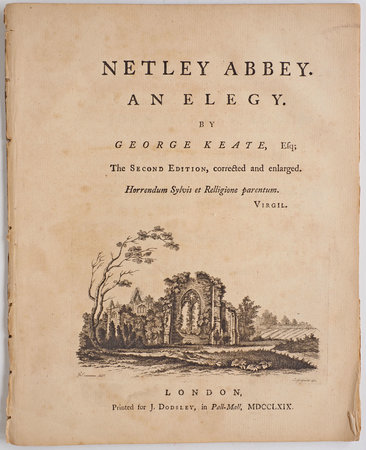 Netley Abbey. An Elegy... The second Edition, corrected and enlarged... by KEATE, George.