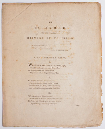 [Drop-head title:] To Mr. Blore, on his elaborate History of Winfield... by [LEACROFT, Edward Becher].