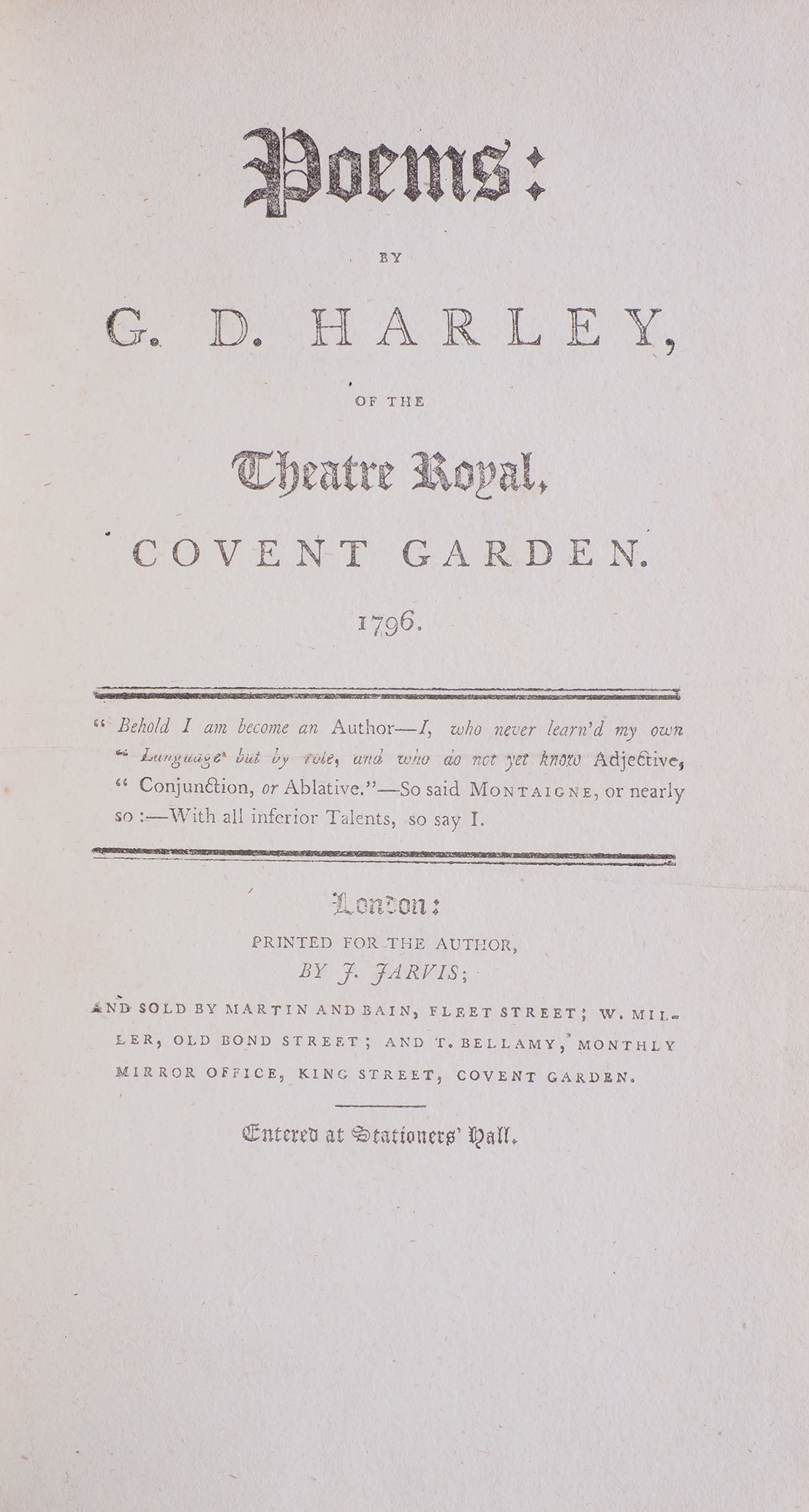 Poems: by G. D. Harley, of the Theatre Royal, Covent