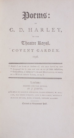 Poems: by G. D. Harley, of the Theatre Royal, Covent Garden. 1796... by HARLEY, George Davies.