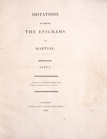 Imitations of some of the Epigrams of Martial. Part I [-II]... by MARTIAL. [HALHED, Nathaniel Brassey].