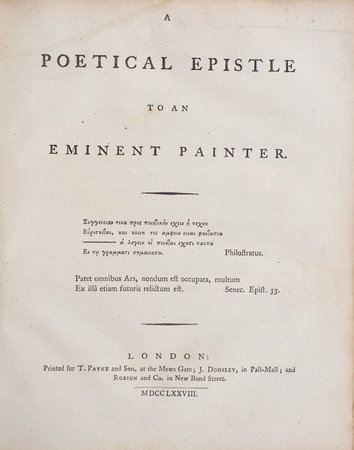 A Poetical Epistle to an eminent Painter. by [HAYLEY, William].