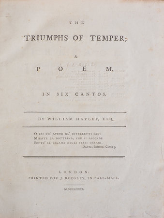 The Triumphs of Temper; a Poem. In six Cantos. by HAYLEY, William.