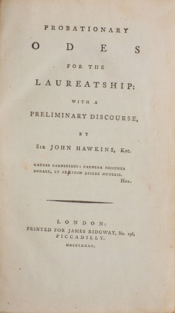 Probationary Odes for the Laureatship: with a preliminary Discourse... Third Edition... by HAWKINS, Sir John, pseud.