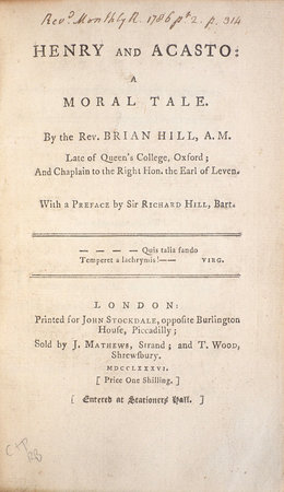Henry and Acasto: a moral Tale... by HILL, Brian.