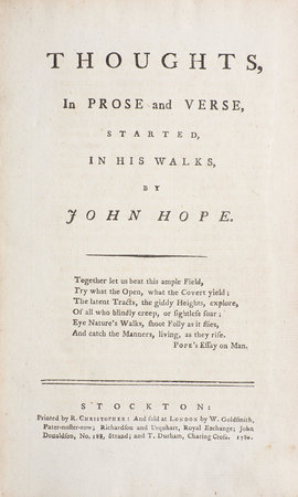 Thoughts, in Prose and Verse, started, in his Walks, by John Hope... by HOPE, John.