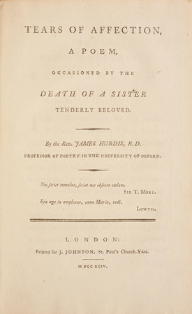 Tears of Affection, a Poem, occasioned by the Death of a Sister tenderly beloved... by HURDIS, James.