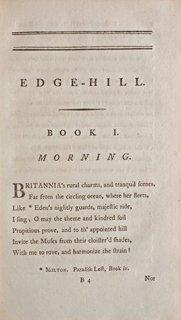 Edge-Hill, or the rural Prospect delineated and moralized. A Poem in four Books... by JAGO, Richard.