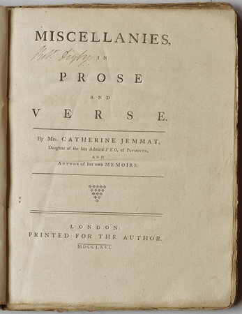 Miscellanies, in Prose and Verse... by JEMMAT, Catherine.
