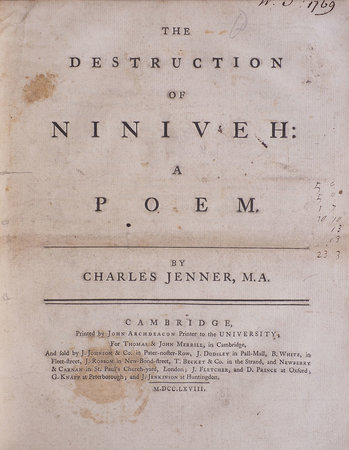 The Destruction of Niniveh: a Poem... by JENNER, Charles.