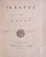 Il Latte. An Elegy. by [JERNINGHAM, Edward].