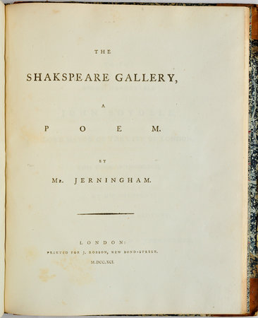 The Shakspeare Gallery, a Poem... by JERNINGHAM, Edward.