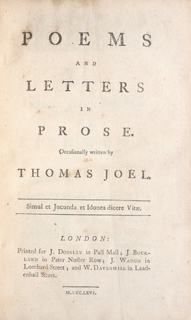 Poems and Letters in Prose... by JOEL, Thomas.