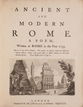 Ancient and modern Rome. A Poem. Written at Rome in the Year 1755... by [KEATE, George].
