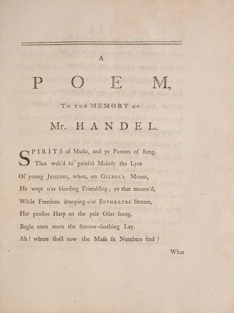 The Tears of Music. A Poem, to the Memory of Mr. Handel. With an Ode to the River Eden... by LANGHORNE, John.