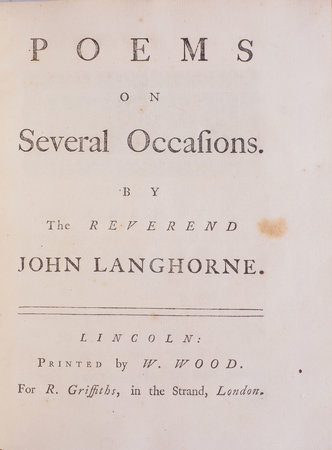 Poems on several Occasions... by LANGHORNE, John.