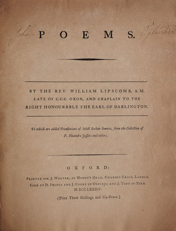 Poems... To which are added Translations of select Italians Sonnets, from the Collection of P. Nicandro Jasseus and others. by LIPSCOMBE, William.