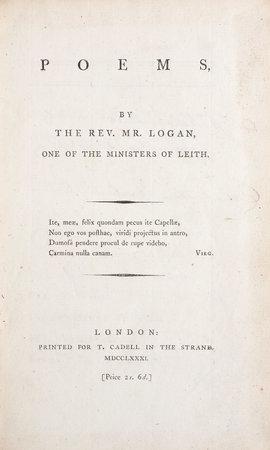 Poems... by LOGAN, John.