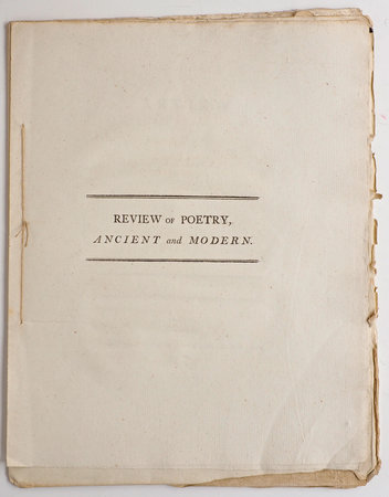 Review of Poetry, ancient and modern. A Poem. By Lady M******. by [MANNERS, Lady Catherine Rebecca].