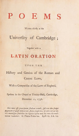 Poems written chiefly at the University of Cambridge; together with an Oration upon the History and Genius of the Roman and Canon Laws, with a Comparison of the Laws of England, spoken in the Chapel at Trinity-Hall, Cambridge, December 21, 1756. by [MARRIOTT, Sir James].
