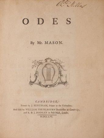 Odes... by MASON, William.