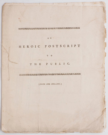 An Heroic Postscript to the Public, occasioned by their favourable Reception of a late Heroic Epistle to Sir William Chambers, Knt. &c. By the Author of the Epistle. by [MASON, William].