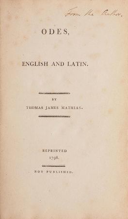 Odes, English and Latin... by MATHIAS, Thomas James.