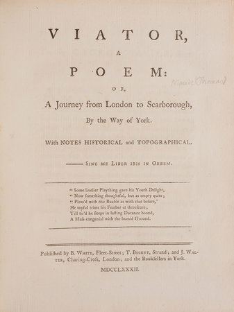 Viator, a Poem: or, A Journey from London to Scarborough, by Way of York... by [MAUDE, Thomas].