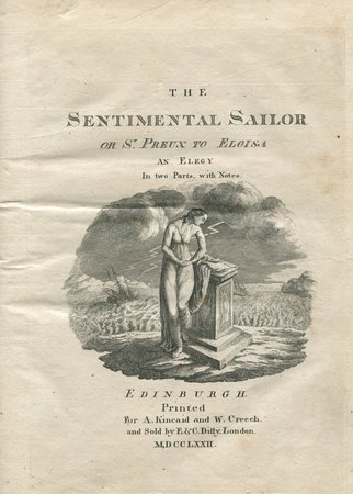 The Sentimental Sailor or St. Preux to Eloisa an Elegy in two Parts, with Notes. by [MERCER, Thomas].
