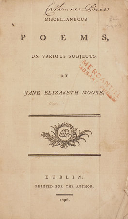 Miscellaneous Poems, on various Subjects... by MOORE, Jane Elizabeth.