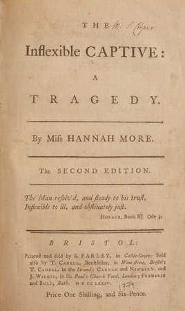The inflexible Captive: a Tragedy... The second Edition... by MORE, Hannah.