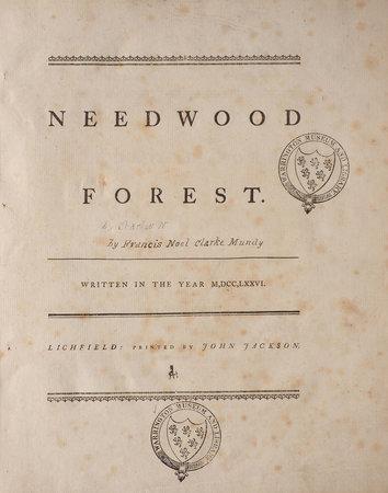 Needwood Forest. Written in the Year 1776. by [MUNDY, Francis Noel Clarke]
