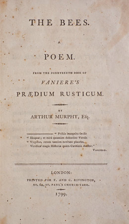 The Bees. A Poem. From the fourteenth Book of Vaniere's Prædium rusticum... by MURPHY, Arthur.