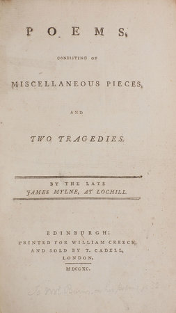 Poems, consisting of miscellaneous Pieces, and two Tragedies... by MYLNE, James.